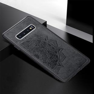 For Galaxy S10+ Embossed Mandala Pattern PC + TPU + Fabric Phone Case with Lanyard & Magnetic(Black)