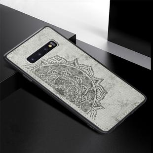 For Galaxy S10+ Embossed Mandala Pattern PC + TPU + Fabric Phone Case with Lanyard & Magnetic(Gray)