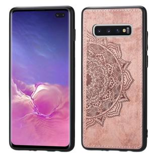 For Galaxy S10+ Embossed Mandala Pattern PC + TPU + Fabric Phone Case with Lanyard & Magnetic(Rose Gold)