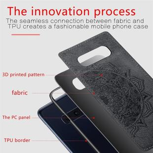 For Galaxy S10e Embossed Mandala Pattern PC + TPU + Fabric Phone Case with Lanyard & Magnetic(Black)