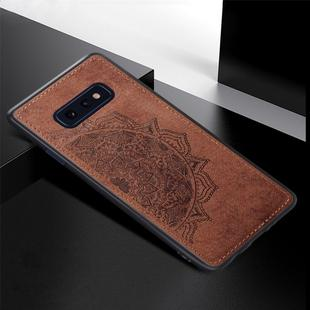 For Galaxy S10e Embossed Mandala Pattern PC + TPU + Fabric Phone Case with Lanyard & Magnetic(Brown)