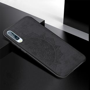 For Galaxy A70 Embossed Mandala Pattern PC + TPU + Fabric Phone Case with Lanyard & Magnetic(Black)