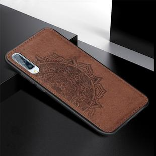 For Galaxy A70 Embossed Mandala Pattern PC + TPU + Fabric Phone Case with Lanyard & Magnetic(Brown)