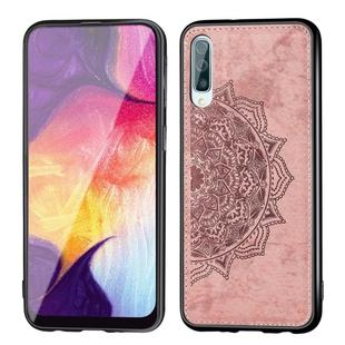 For Galaxy A50 Embossed Mandala Pattern PC + TPU + Fabric Phone Case with Lanyard & Magnetic(Rose Gold)