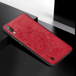 For Galaxy M10 Embossed Mandala Pattern PC + TPU + Fabric Phone Case with Lanyard & Magnetic(Red)