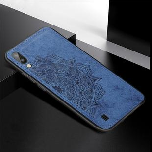 For Galaxy M10 Embossed Mandala Pattern PC + TPU + Fabric Phone Case with Lanyard & Magnetic(Blue)