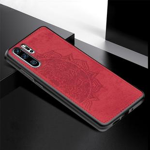 For Huawei P30 Pro Embossed Mandala Pattern PC + TPU + Fabric Phone Case with Lanyard & Magnetic(Red)