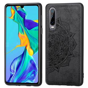 For Huawei P30 Embossed Mandala Pattern PC + TPU + Fabric Phone Case with Lanyard & Magnetic(Black)