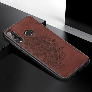 For Huawei P30 Lite & Nova 4E Embossed Mandala Pattern PC + TPU + Fabric Phone Case with Lanyard & Magnetic(Brown)