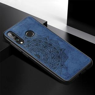 For Huawei P30 Lite & Nova 4E Embossed Mandala Pattern PC + TPU + Fabric Phone Case with Lanyard & Magnetic(Blue)