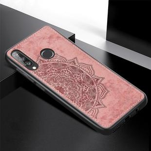 For Huawei P30 Lite & Nova 4E Embossed Mandala Pattern PC + TPU + Fabric Phone Case with Lanyard & Magnetic(Rose Gold)
