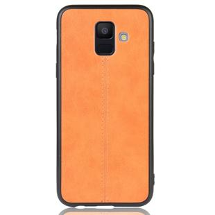 For Galaxy A6 Shockproof Sewing Cow Pattern Skin PC + PU + TPU Case(Orange)
