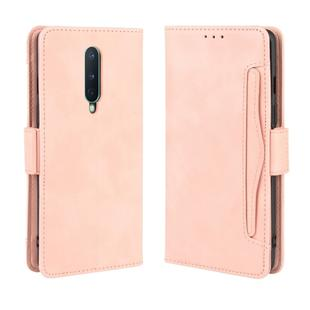For OnePlus 8 Wallet Style Skin Feel Calf Pattern Leather Case with Separate Card Slot(Pink)