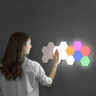 Touch-sensitive Honeycomb Quantum Lamp Assembly Combination Background Aisle Wall Lamp, Color:5pcs(Red, Green, Blue, Yellow and Pink)(UK Plug)