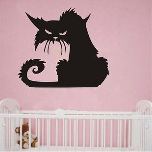 2 Sets Halloween Scary Black Cat Glass Wall Sticker Decoration, Size:43X37 CM