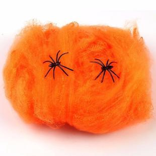 2 PCS Halloween Bar Haunted House Scary Party Spider Web Props Decoration(Orange)