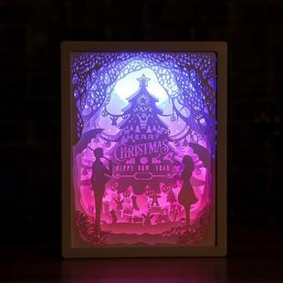 3D Stereo Light Paper Carving Lamp Creative Gift(Romantic Couple 1)