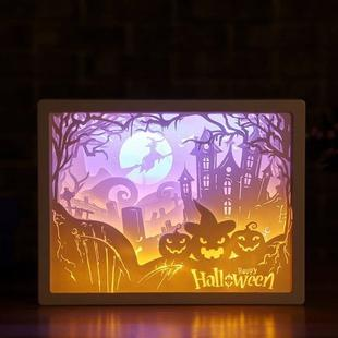 3D Stereo Light Paper Carving Lamp Creative Gift(Halloween)