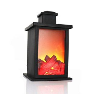 Outdoor LED Table Lamps Artificial Fireplace Candlestick Charcoal Flame Retro Decoration(Warm Light)