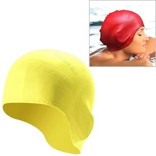 Silicone Ear Protection Waterproof Swimming Cap for Adults with Long Hair(Yellow)