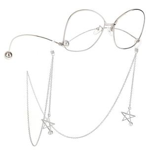 2 PCS Non-slip Metal Glasses Pendant with Pearl Pendant Glasses Chain(Silver)