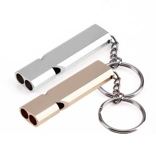 3 PCS Mini Portable 120db Double Pipe High Decibel Outdoor Camping Hiking Survival Whistle Double-frequency Emnergecy Whistle Keychain(Silver)