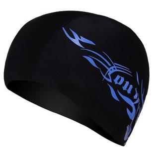 Unisex Spandex Breathable Swimming Cap(Blue Fire on Black)