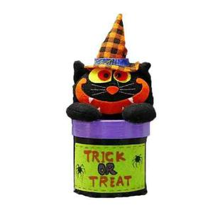 2 PCS Halloween Candy Jar Gift Box Shopping Mall Kindergarten Decoration, Style:Round Box(Big Mouth Cat )
