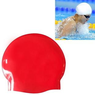 Glossy Seamless Pure Silicone High Elasticity Professional Swimming Cap(Red)