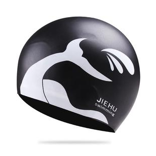 Enlarged Version Dolphin Pattern Silicone Swimming Cap for Male and Female(Black)