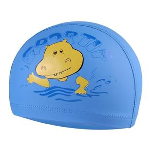 Children Cartoon Hippo Pattern PU Coated Waterproof Swimming Cap(Blue)