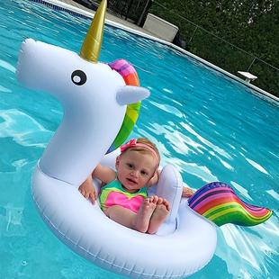 Children Summer Water Fun Inflatable Unicorn Shaped Pool Ride-on Swimming Ring Floats, Size: 170*120cm(White)