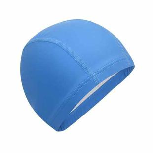 Adult Waterproof PU Coating Stretchy Swimming Cap Keep Long Hair Dry Ear Protection Swim Cap (Blue)