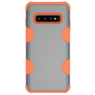 Contrast Color Silicone + PC Shockproof Case for Galaxy S10+ (Grey+Orange)