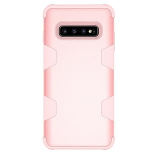 Contrast Color Silicone + PC Shockproof Case for Galaxy S10+ (Rose Gold)