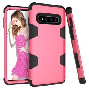 Contrast Color Silicone + PC Shockproof Case for Galaxy S10+ (Rose Red)