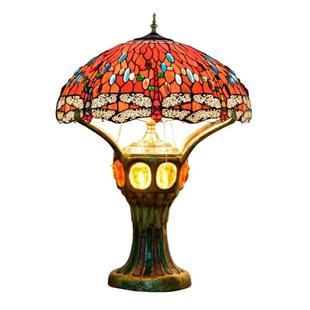 YWXLight Retro Creative Stained Glass Lampshade Lighting Table Lamp Living Room Showroom Office Hotel Decoration Light (UK Plug)