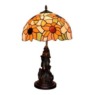 YWXLight Sun Flower Colored Glass Table Lamp Living Room Dining Room Bedroom Bedside Counter Lamp (UK Plug)