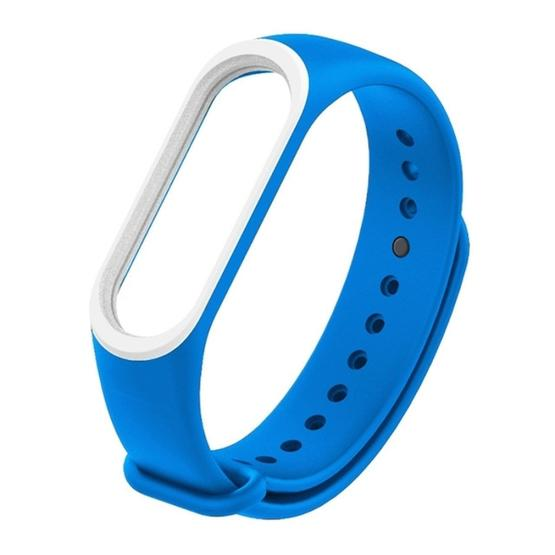 Colorful Silicone Wrist Strap Watch Band for Xiaomi Mi Band 3 & 4 (Blue+White) - 1