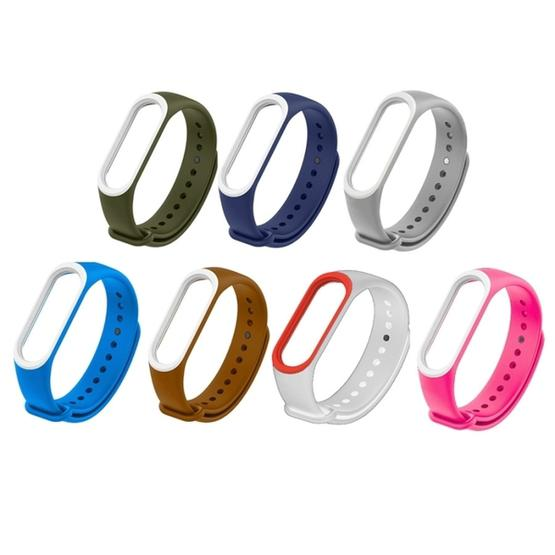 Colorful Silicone Wrist Strap Watch Band for Xiaomi Mi Band 3 & 4 (Blue+White) - 3