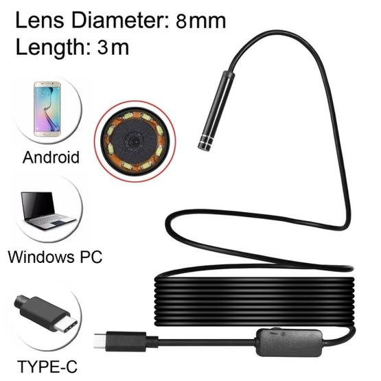 USB-C / Type-C Endoscope Waterproof Snake Tube Inspection Camera with 8 LED & USB Adapter, Length: 3m, Lens Diameter: 8mm - 1