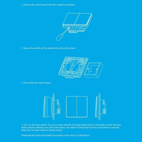 Original Xiaomi Aqara Smart Light Control Double Key Paste Wall style  Wireless Switch, Work with Xiaomi Multifunctional Gateway (CA1001) Mihome  APP