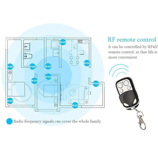 86mm 2 Gang Tempered Glass Panel Wall Switch Smart Home Light Touch Switch with RF433 Remote Controller, AC 110V-240V(Black) - 6