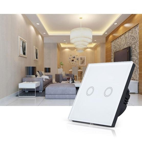 86mm 2 Gang Tempered Glass Panel Wall Switch Smart Home Light Touch Switch with RF433 Remote Controller, AC 110V-240V(Black) - 7