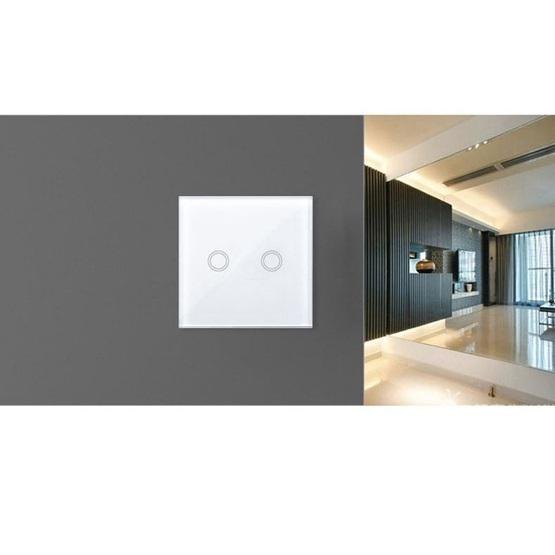 86mm 2 Gang Tempered Glass Panel Wall Switch Smart Home Light Touch Switch with RF433 Remote Controller, AC 110V-240V(Black) - 8