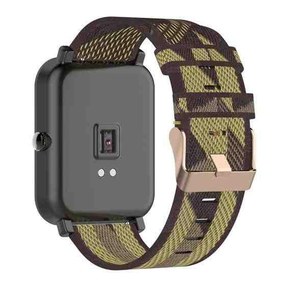 20mm Stripe Weave Nylon Wrist Strap Watch Band for Huami Amazfit GTR 42mm / GTS / BIP / BIP Lite(Yellow) - 4