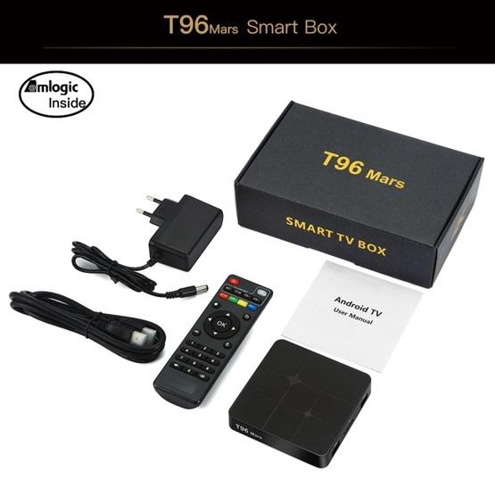 T96 Mars 4K HD Smart TV Box with Remote Controller, Android 7 1 2, S905W  Quad-Core 64-Bits ARM Cortex-A53, 2GB+16GB, Support TF Card, HDMI, LAN, AV,
