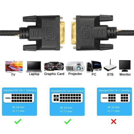 DVI 24 + 1 Pin Male to DVI 24 + 1 Pin Male Grid Adapter Cable(3m) - 5