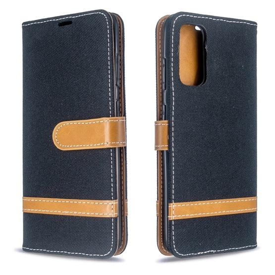 For Galaxy S20 Color Matching Denim Texture Horizontal Flip PU Leather Case with Holder & Card Slots & Wallet & Lanyard(Black) - 1