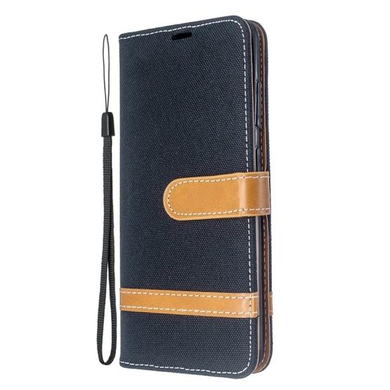 For Galaxy S20 Color Matching Denim Texture Horizontal Flip PU Leather Case with Holder & Card Slots & Wallet & Lanyard(Black) - 2